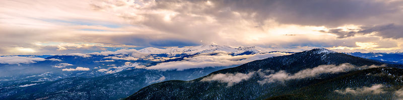 Mt Evans Winter Sunset Panorama
