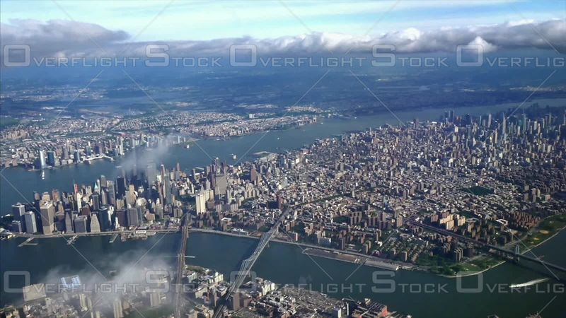 Manhattan Skyline Viewed from  an Airplane Window