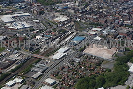 Bolton aerial photograph of Manchester Road looking towards the Central Retail Park and Bolton Railway Station looking across to Trinity Street and the retail parks