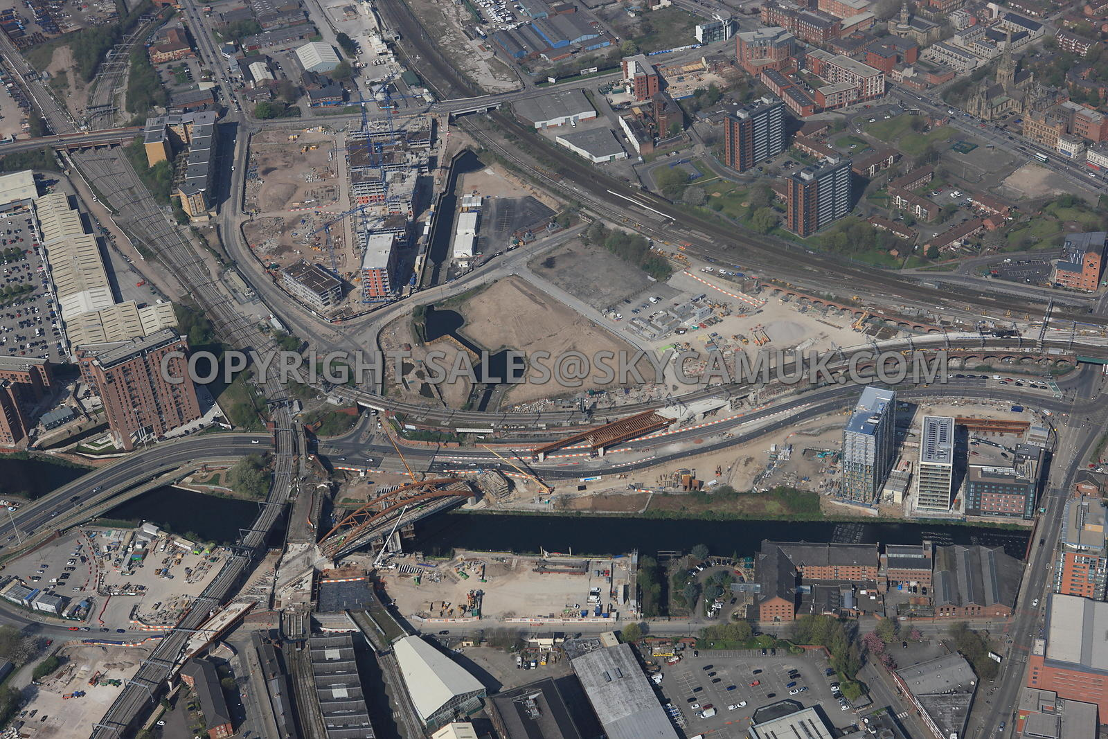 Manchester Crossing point of the river Irwell and the new Ordsall Chord Rail Link and the new developments taking place at Middlewood Lock area of Salford