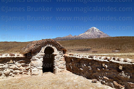 Niche / posa  in corner of courtyard of church at Cotasaya and Sajama volcano, Sajama National Park, Bolivia