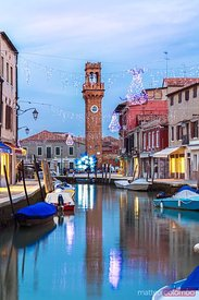 Murano by night at Christmas time, Venice