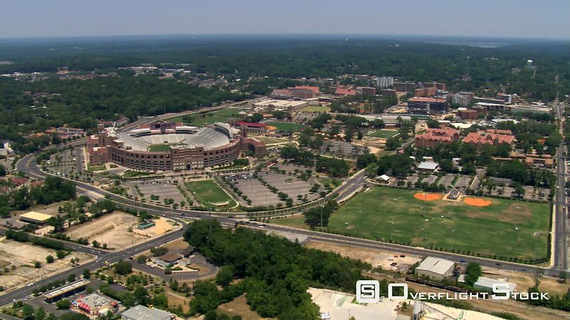 Flight over Florida State University including stadiums, Tallahassee, Florida.