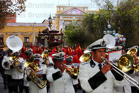 Brass band accompanying the Holy Sepulchre during Good Friday procession, Plaza Murillo, La Paz, Bolivia