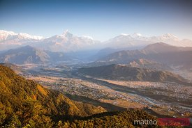 Annapurna mountain range at sunrise, Pokhara, Nepal