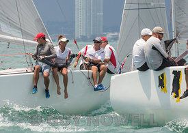Close at the very last top mark - Team Viewpoint, Easy Tiger. Top of the Gulf Regatta 2017