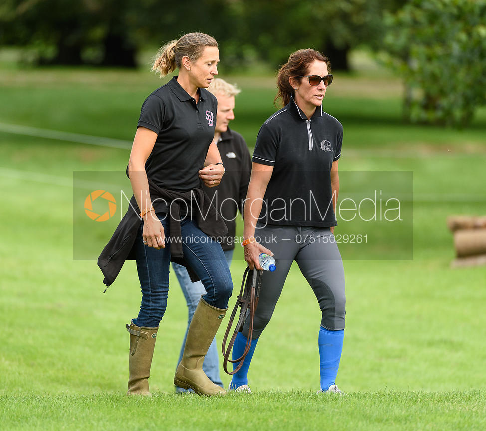 Caroline Powell, Sarah Bullimore walking the course at  Land Rover Burghley Horse Trials 2018
