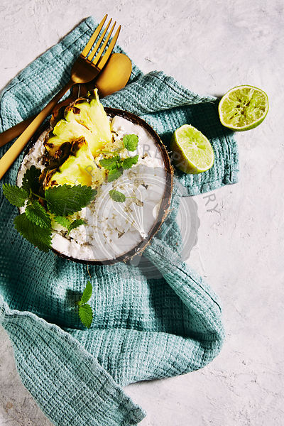 Coconut, lime and pineapple granita.