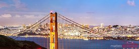 Panoramic of Golden Gate bridge at dusk, San Francisco