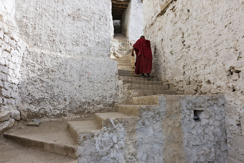 Old Buddhist Monk at Thiksey Monastery