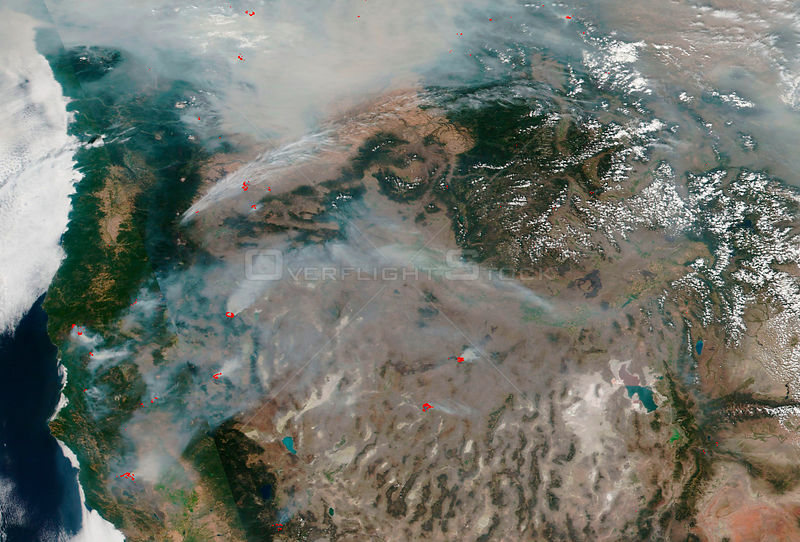 USA California - 21 Aug 2018 - The West Coast of the United States is shrouded in smoke from the 110 large fires
