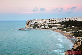 Elevated view of Peschici at sunset, Puglia, Italy