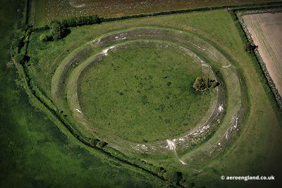aerial photograph of Warham Camp Iron Age Fort  Norfolk England UK.