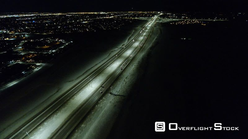 Stoney Trail and Highway 1 Calgary Alberta in Winter.