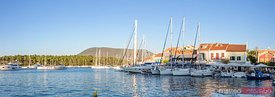 Panoramic of the harbour in Fiskardo at sunset. Kefalonia, Greek Islands, Greece