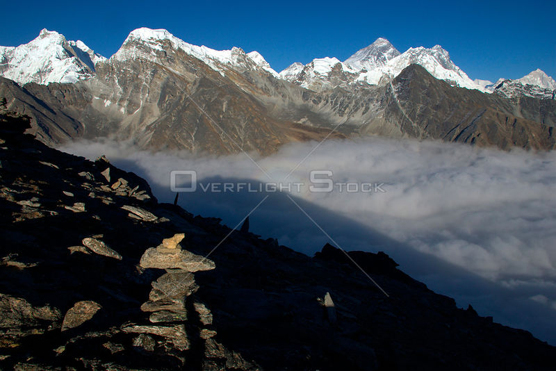 NEPAL Everest Region -- View from Gokyo Ri (Gokyo Peak) showing Mount Everest (8848m) on the top centre left and the peaks of Nuptse and Lhotse.