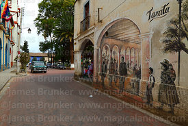 Mural on corner of building on Plaza Aroma, Tarata, Cochabamba Department, Bolivia