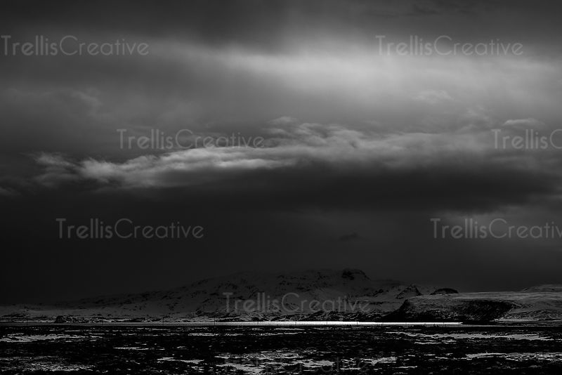 Dark storm over mountains in Thingvellir National Park, Iceland