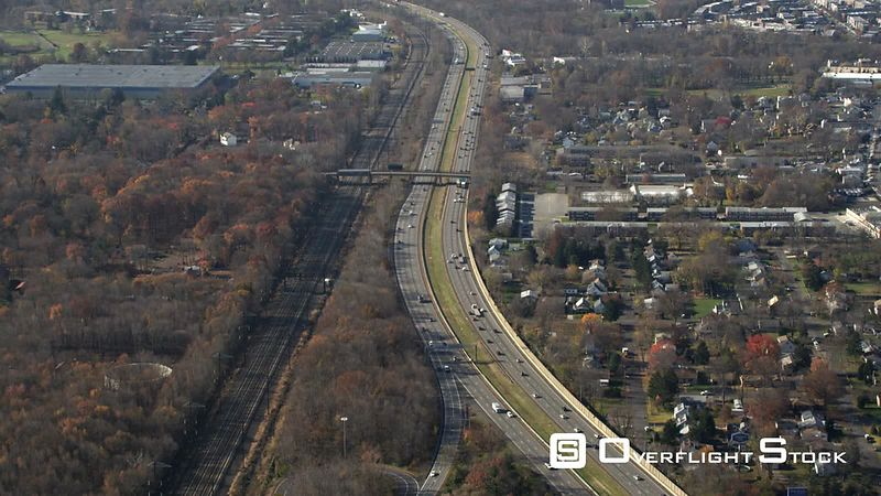Aerial View of Highway 95 Headed Towards Philadelphia, Pa.