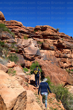 Hiking up steep rocky trail on side of Cerro Tonka near La Palca Grande, Nor Cinti, Chuquisaca Department, Bolivia