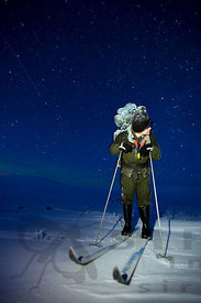 Winter hiker and Falling Star