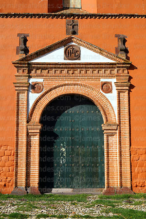 Detail of doorway of south facade of St John the Baptist of Letrán / San Juan Bautista de Letrán church, Juli, Puno Region, Peru
