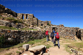 Tourists visiting the Chincana Inca ruins, Sun Island, Lake Titicaca, Bolivia