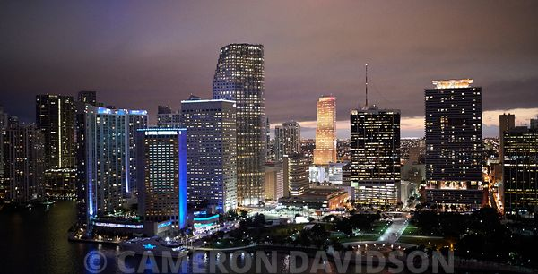 Aerial photogrpah at night the Miami skyline