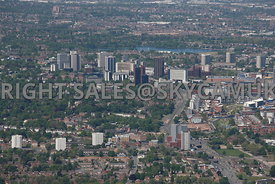 Birmingham aerial photograph of the Lee Bank Middleway area looking towards Fiveways Hagley Road with the high rise offices in the distance