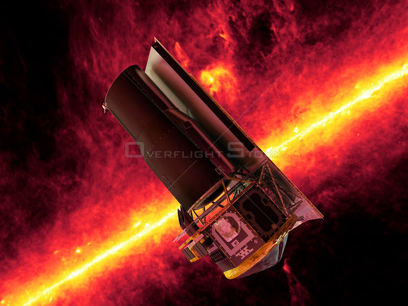 This image shows an artist's impression of the Spitzer Space Telescope.