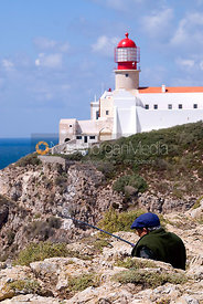 Fisherman at Cape St. Vincent Lighthouse, Portugal