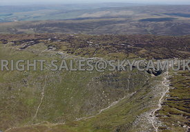 Peak district aerial photograph showing the Kinder Downfall waterfall Kinder Scout Peak District National Park