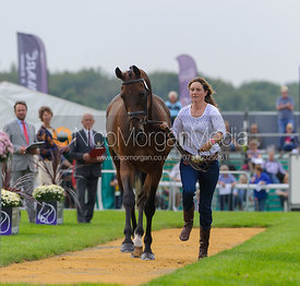 Piggy French and JAKATA - The first vets inspection (trot up),  Land Rover Burghley Horse Trials, 3rd September 2014.