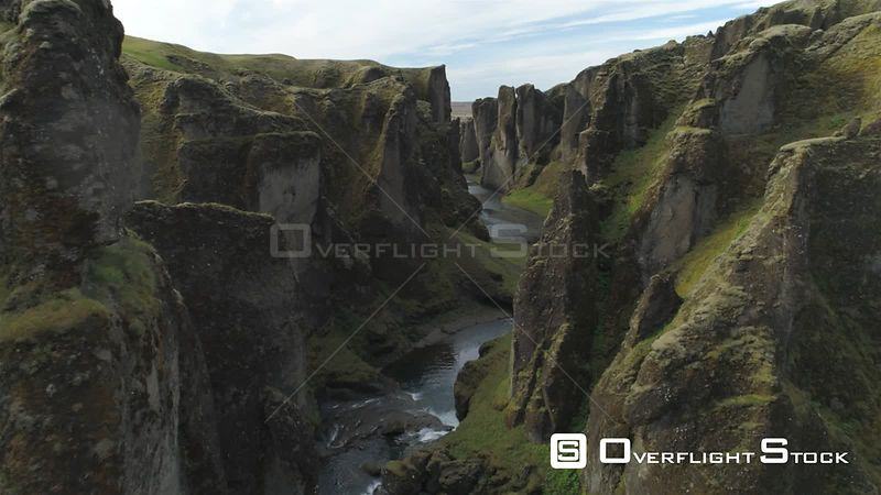 Flying Between Steep River Canyon Walls, Fjadragljufur Iceland, Drone Aerial