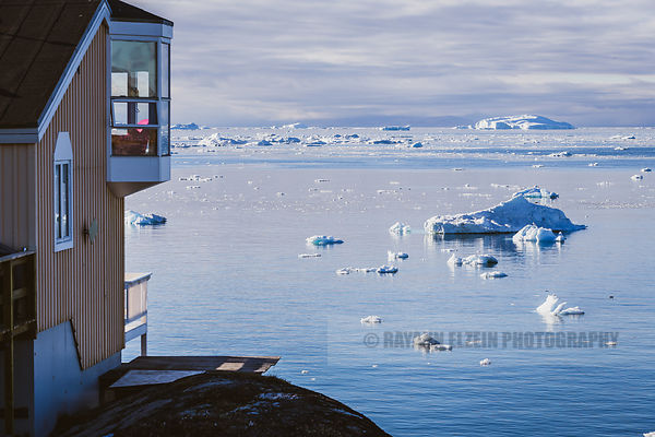 Home with a view on the icebergs of the Disko Bay in Ilulissat, Greenland