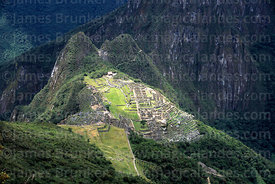 Aerial view of Machu Picchu and Uña Picchu peak, seen from Machu Picchu mountain, Peru