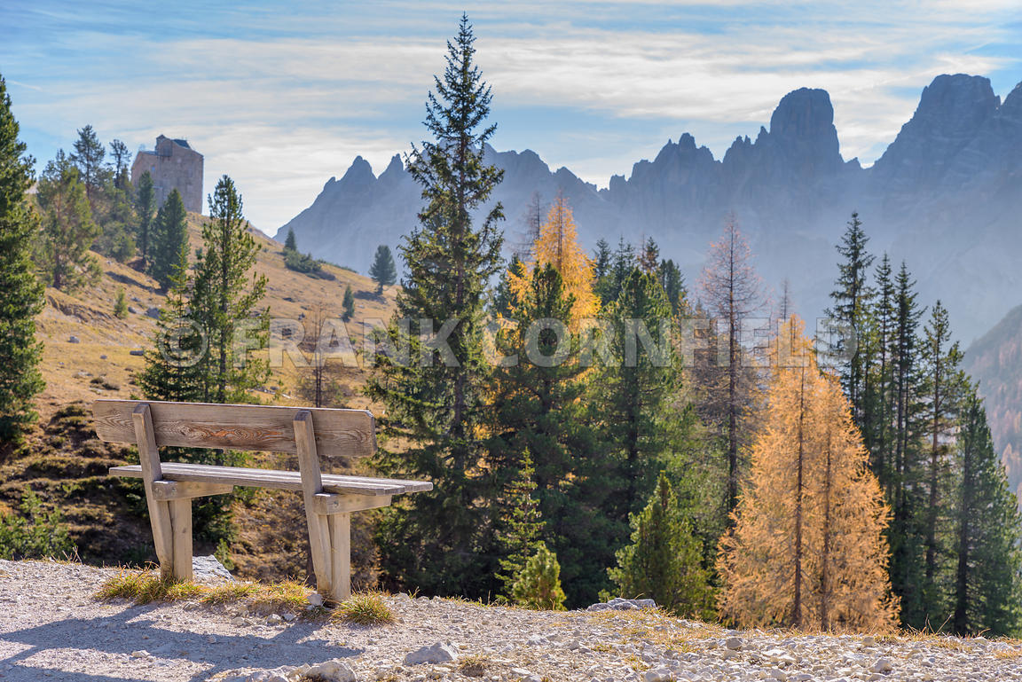 A bench seat in hiking area of the Fanes Sennes Prags Nature Park near Schluderbach Carbonin in the South Tyrol, Italy.