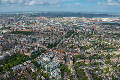 Aerial view of Dublin looking towards Grand Canal Dock, Ireland
