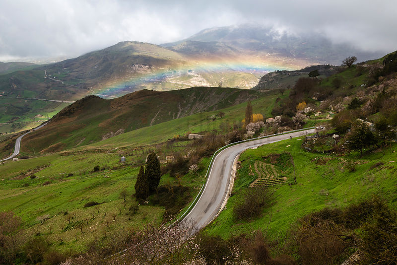 Rainbow and Road Below Petralia Sopprana