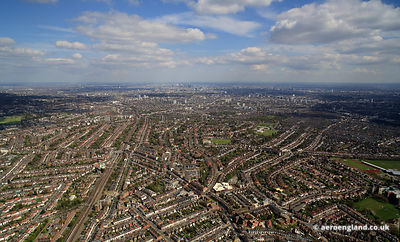 aerial photograph of  Willesden London, England UK  showing High Rd, Brent Park, London NW10 2SL, Brondesbury Park, London NW2 5JN, Saint Mary Magdalen's Roman Catholic Junior School.Linacre Road, London NW2 5BB, Willesden Green Baptist Church.94 High Road, Willesden Green, London NW10 2PR , Bryan Ave, London NW10 2AR, and  Walm Ln, London NW2 5SH