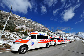 REO Rettung Oberengadin Emergency Ambulance on the Road 24/365 in the Engadine Valley