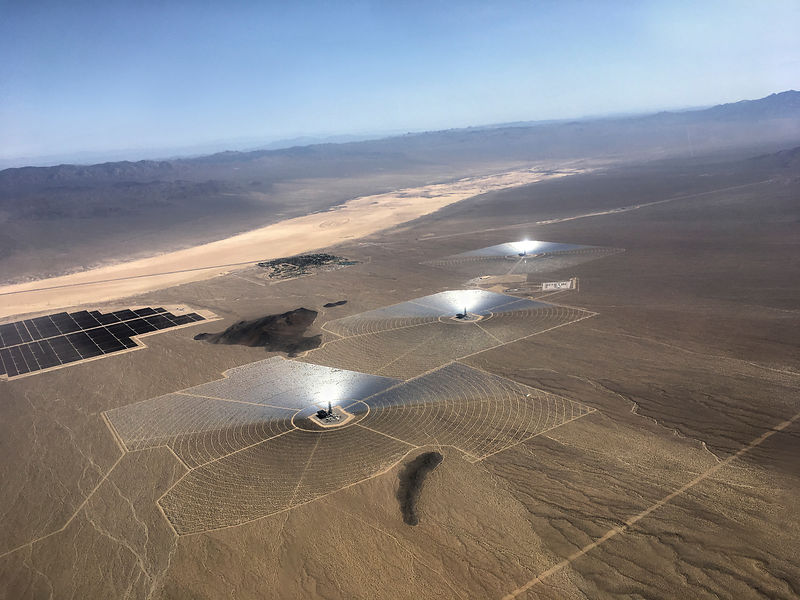 Ivanpah Concentrated Solar Power Facility in Mojave desert, California, USA