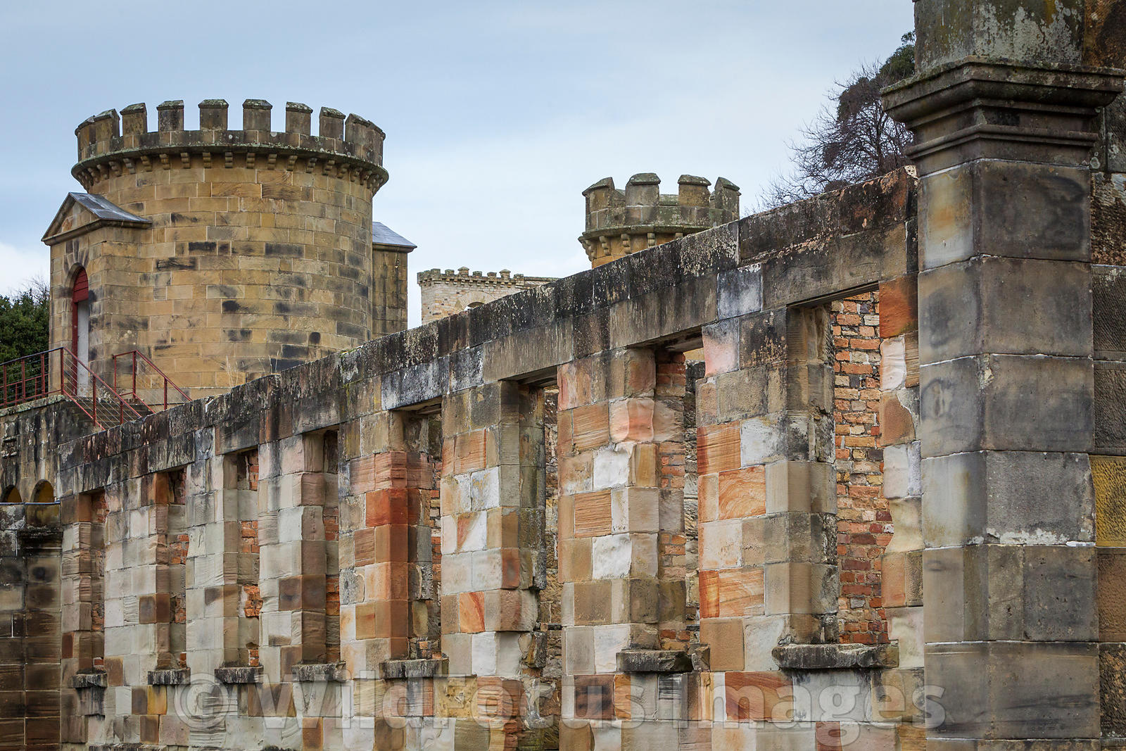 Guard tower and Law court ruins at Port Arthur Penal Settlement, Port Arthur, Tasmania, Australia; Landscape