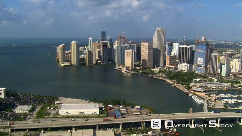 Broad aerial view of Miami waterfront.