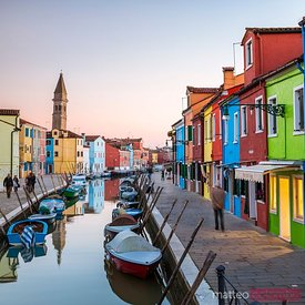 Italy, Veneto, Venice, Burano. Sunset in the town