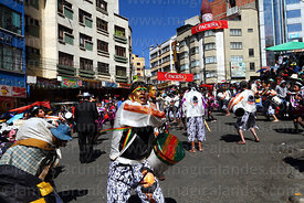 People dressed as African slaves in Negritos / Tundiqui dance group, Gran Poder festival, La Paz, Bolivia