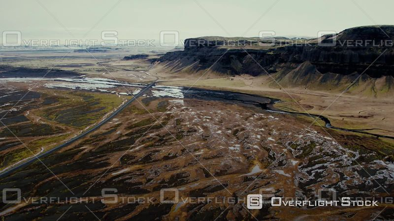 Aerial View of Magnificient Mountains Near to Endless Icelandic Volcanic Desert, Filmed by Drone, Iceland