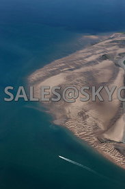 Walney island aerial photograph showing the sand bars at low tide