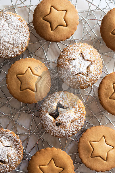 Small gingerbread fruit mince tarts dusted with icing sugar.