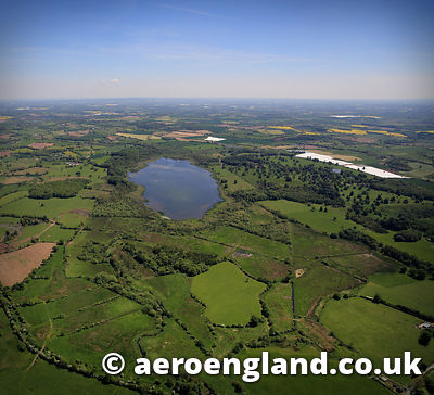 aerial photograph of Aqualate Mere Staffordshire England UK